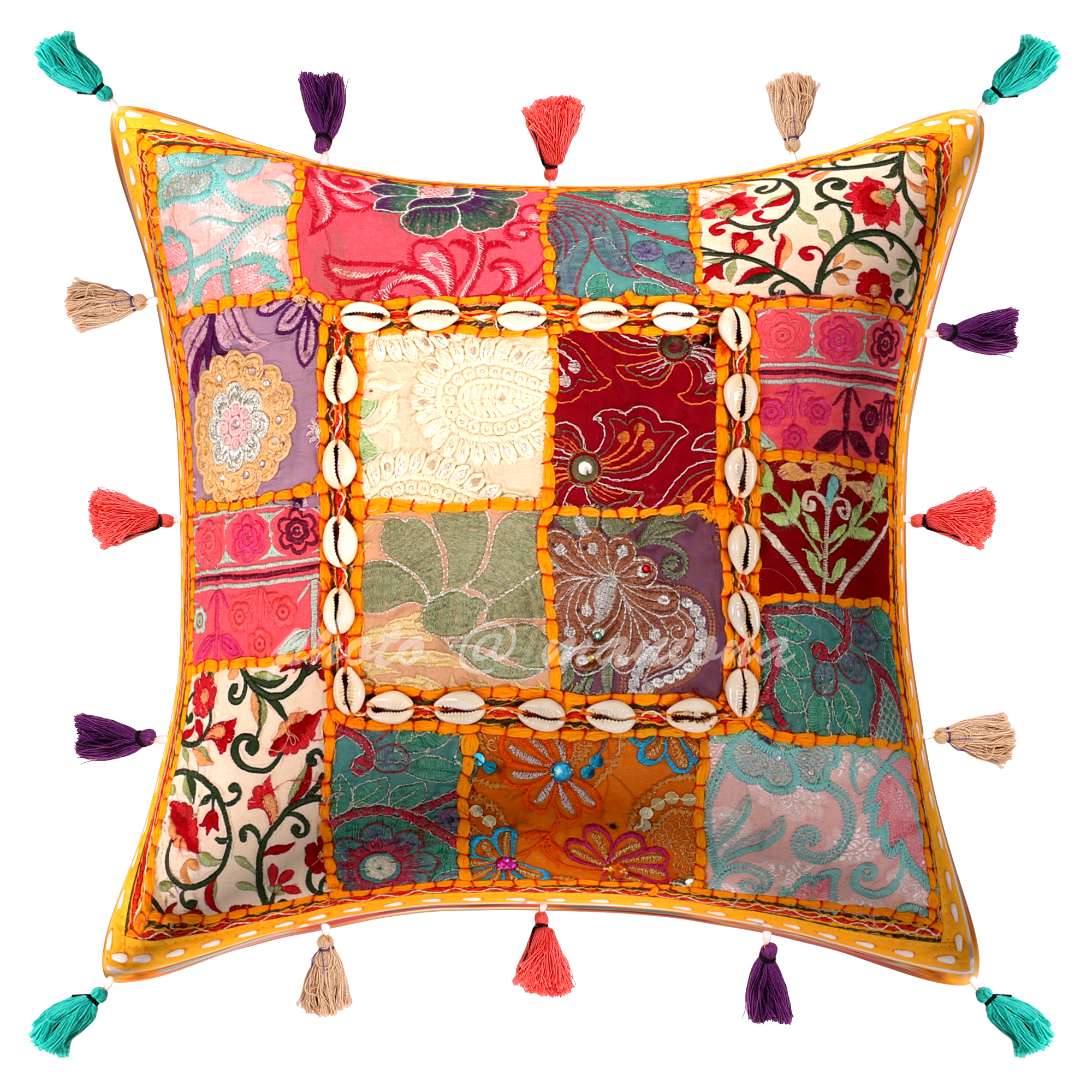 Ethnic Vintage Cushion Cover Indian Sari Patchwork Bohemian Decorative Pillow Cases 16 X 16